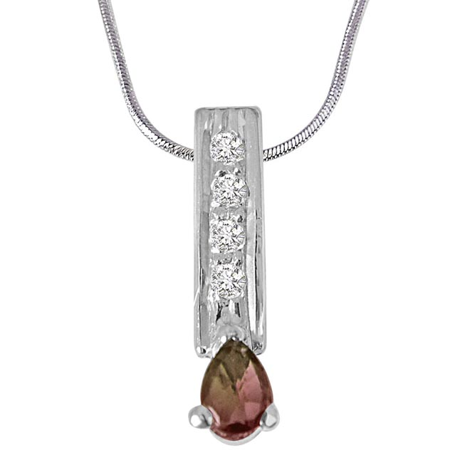 Trendy Pear Shaped Brown Tourmaline, Round White Topaz and 925 Sterling Silver Pendant with Silver Finished 18IN Chain - Gemstone Pendant