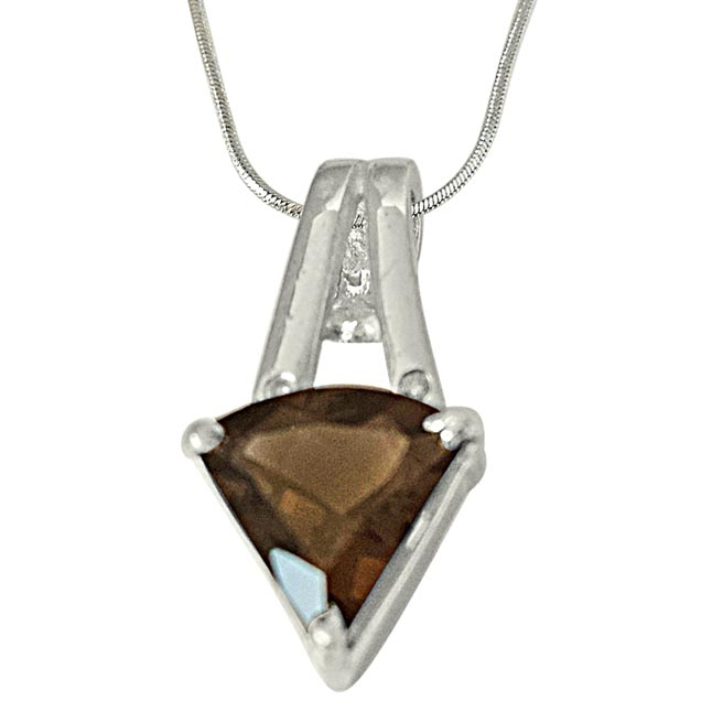 Trillion Shape 2.30 cts Smoky Topaz & Real Diamond 925 Silver Pendant with 18 IN Chain
