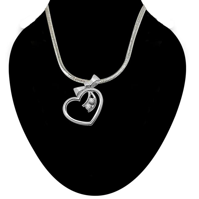 Gift of a Heart - Real Diamond & Sterling Silver Pendant with 18 IN Chain