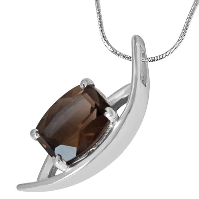 Rectangular Shaped 2.77 cts Smoky Topaz 925 Sterling Silver Pendant with 18 IN Chain