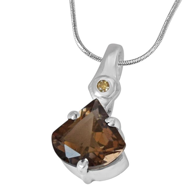 Unique Shaped 2.67 cts Smoky Topaz & Real Diamond 925 Silver Pendant with 18 IN Chain