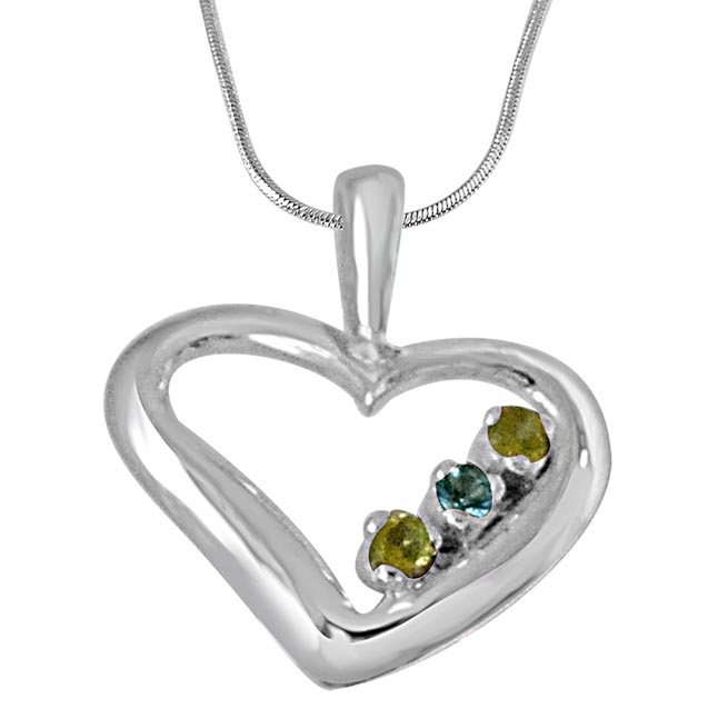Elegant Heart Shaped Blue Topaz, Green Peridot and 925 Sterling Silver Pendant with 18 IN Chain