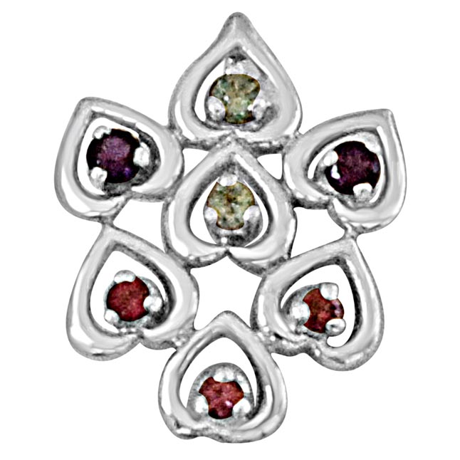 Sweet Hearts Blue Topaz, Purple Amethyst, Pink Rhodolite and 925 Sterling Silver Pendant with 18 IN Chain