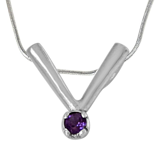 """V"" Shaped Purple Amethyst and 925 Sterling Silver Pendant with 18 IN Chain"