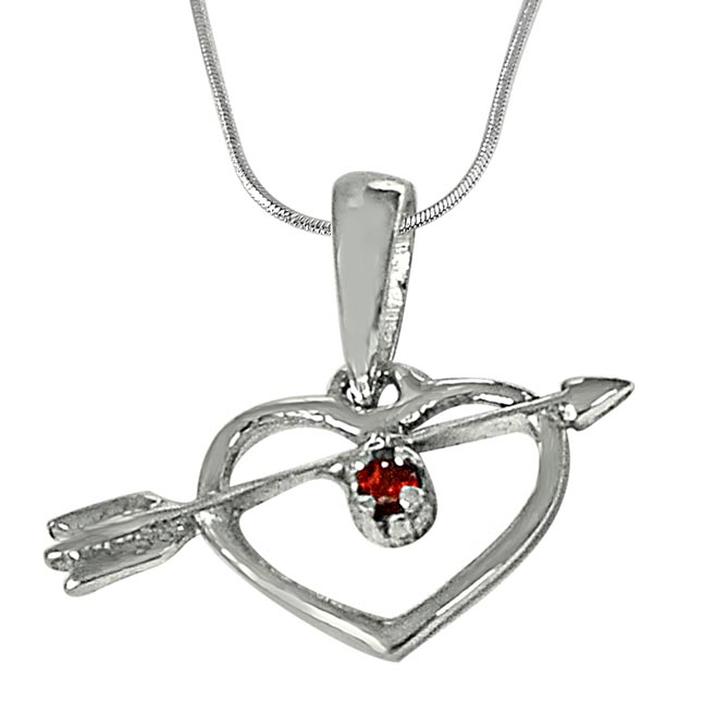 Cupid's Heart Shaped Red Garnet and 925 Sterling Silver Pendant with 18 IN Chain