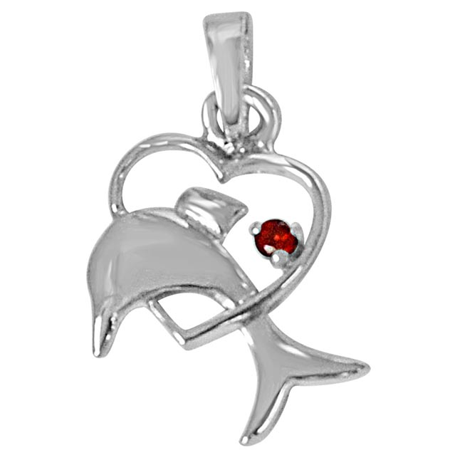 Dolphin Heart Red Garnet & 925 Sterling Silver Pendant with 18 IN Chain