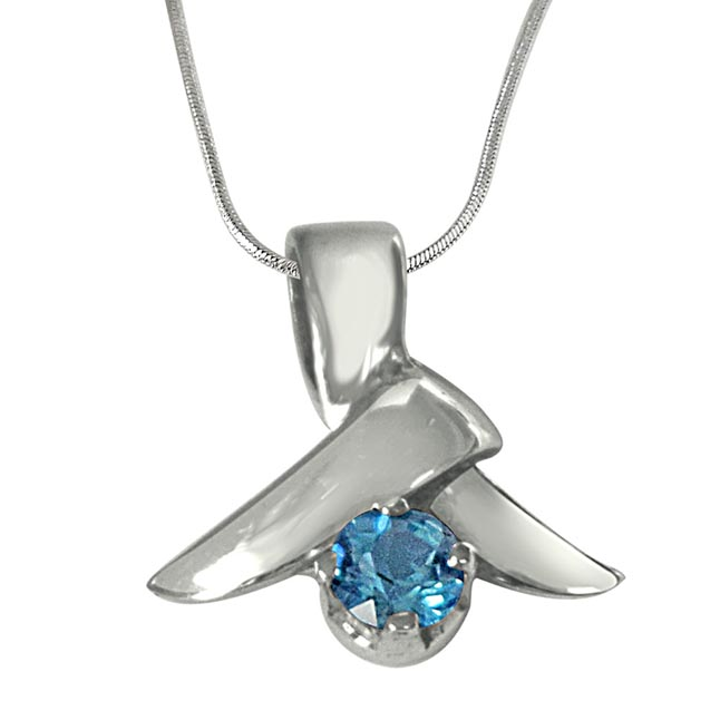 Round Blue Topaz & 925 Sterling Silver Pendant with 18 IN Chain
