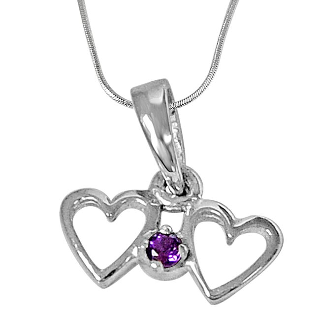 Heart to Heart Purple Amethyst and 925 Sterling Silver Pendant with 18 IN Chain