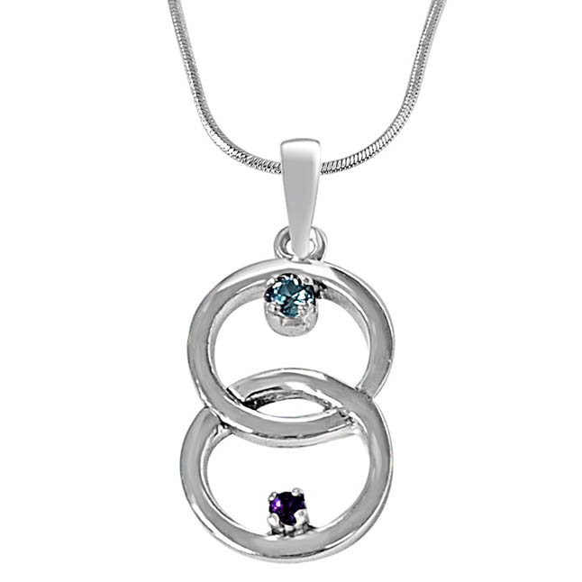 Entwined Circle Purple Amethyst, Blue Topaz & 925 Sterling Silver Pendant with 18 IN Chain