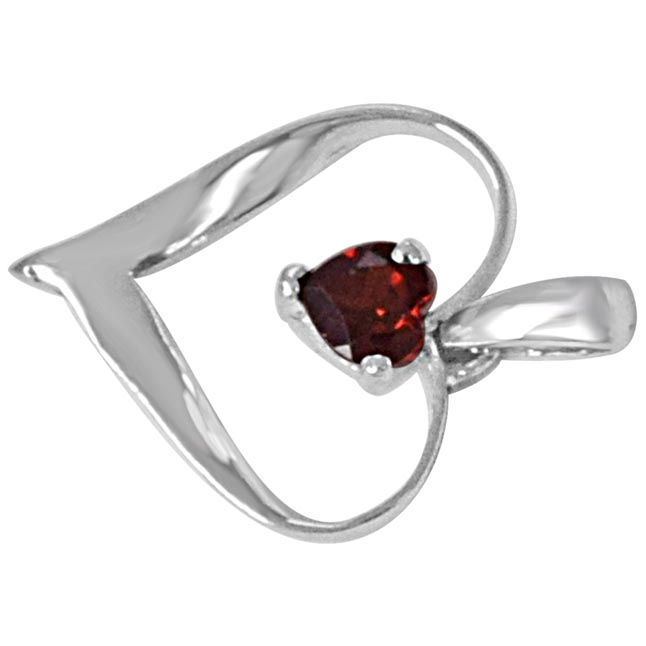 Heart Shaped Bright Red Garnet & 925 Sterling Silver Pendant with 18 IN Chain