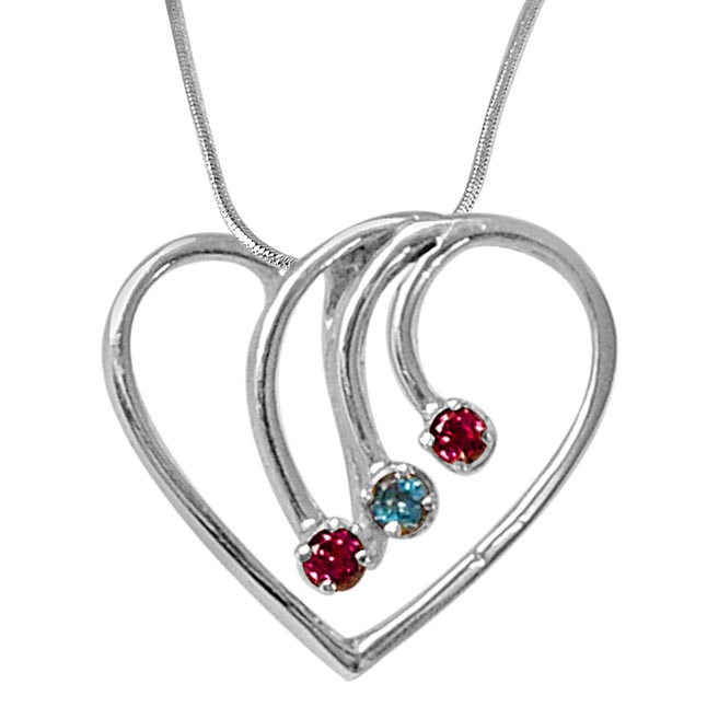 Ways to Her Heart Blue Topaz, Rhodolite & 925 Sterling Silver Pendant with Silver Finished 18 IN Chain
