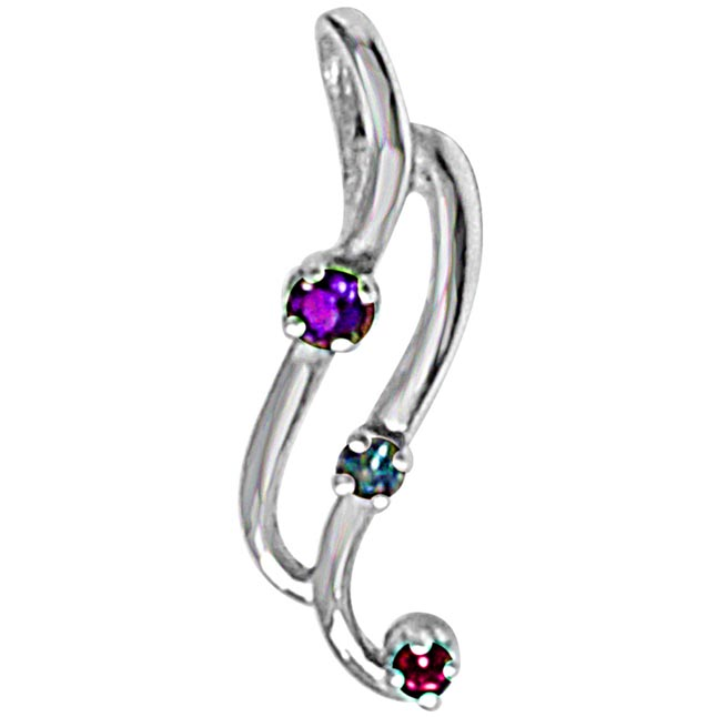 Curvy Blue Topaz, Amethyst Rhodolite & 925 Sterling Silver Pendant with 18 IN Chain
