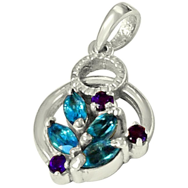 Floral Shaped Blue Topaz, Purple Amethyst & 925 Sterling Silver Pendant with 18 IN Chain