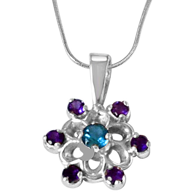 Flower Shaped Purple Amethyst, Blue Topaz & 925 Sterling Silver Pendant with 18 IN Chain