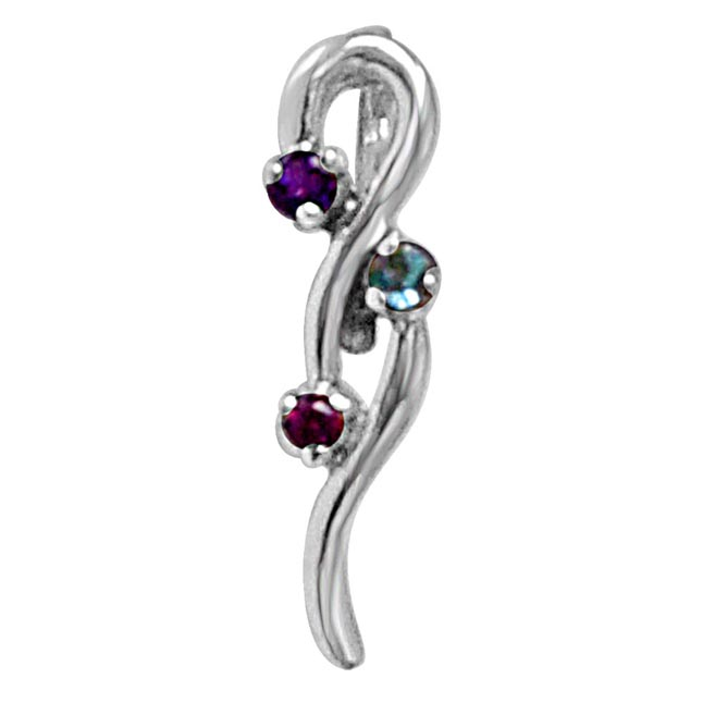 Curvacious Beauty Purple Amethyst, Blue Topaz, Pink Rhodolite & 925 Sterling Silver Pendant with 18 IN Chain