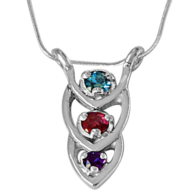 Coloured Drops Blue Topaz, Purple Amethyst, Pink Tourmaline & 925 Sterling Silver Pendant with 18 IN Chain