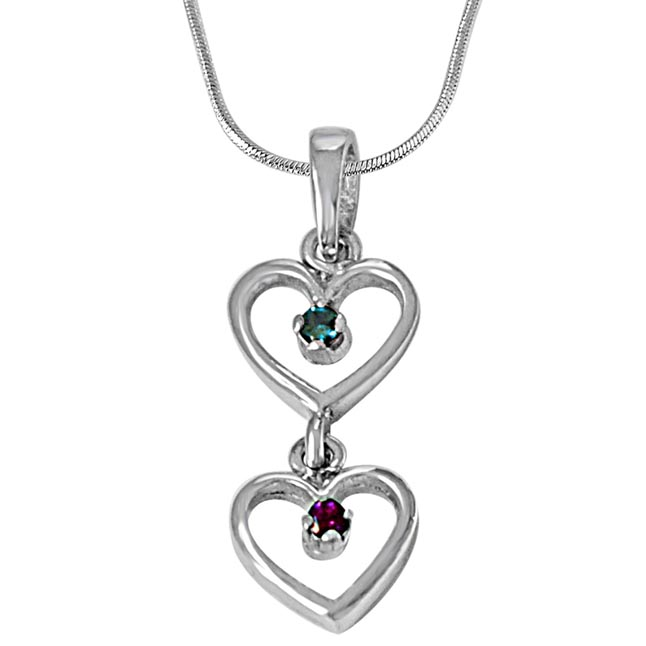 Dangling Heart Blue Topaz, Pink Rhodolite & 925 Sterling Silver Pendant with 18 IN Chain