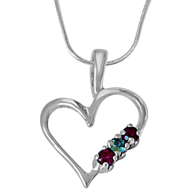 Sweet Heart Blue Topaz, Pink Rhodolite & 925 Sterling Silver Pendant with 18 IN Chain