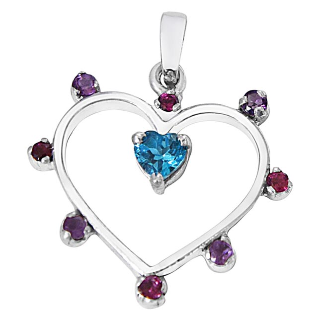 Heart Shaped Blue Topaz, Purple Amethyst, Pink Rhodolite & 925 Sterling Silver Pendant with 18 IN Silver Finished Chain SDP488