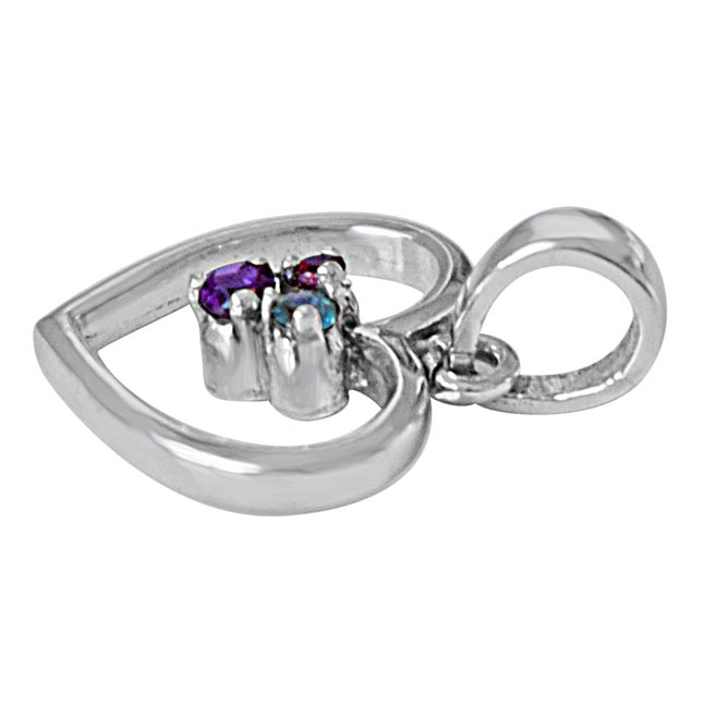 Sparkling Heart Blue Topaz, Purple Amethyst, Pink Rhodolite & 925 Sterling Silver Pendant with 18 IN Chain