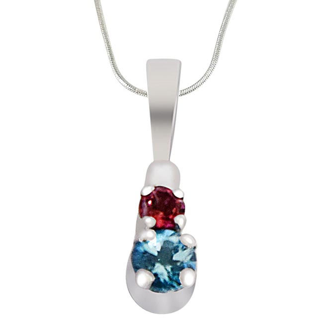 Round Blue Topaz & Pink Tourmaline  in 925 Sterling Silver Pendant with 18 IN Chain