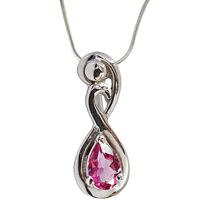Trendy Curved Pear Pink Tourmaline & 925 Sterling Silver Pendant with 18 IN Chain