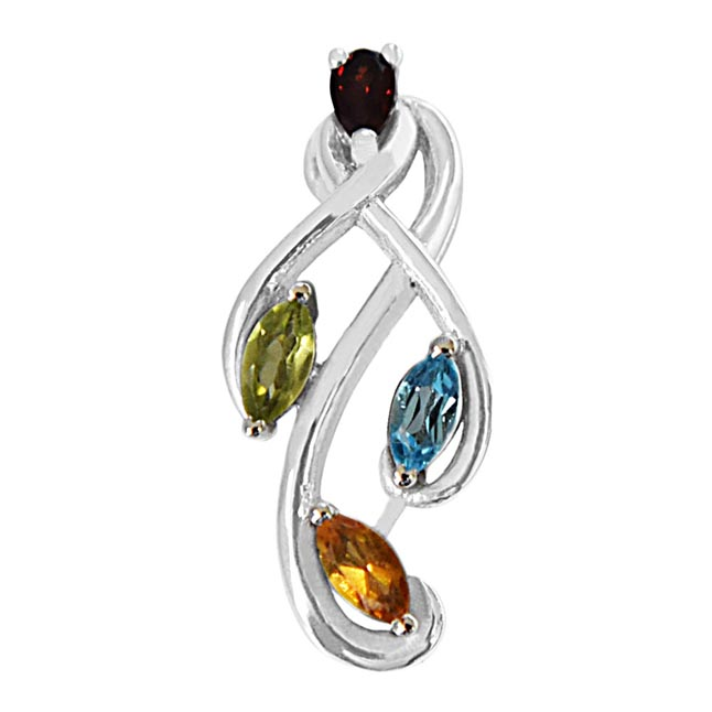 Beautiful Pear Shaped Red Garnet, Green Peridot, Blue & Yellow Topaz in 925 Sterling Silver Pendant with 18 IN Silver Finished Chain SDP492