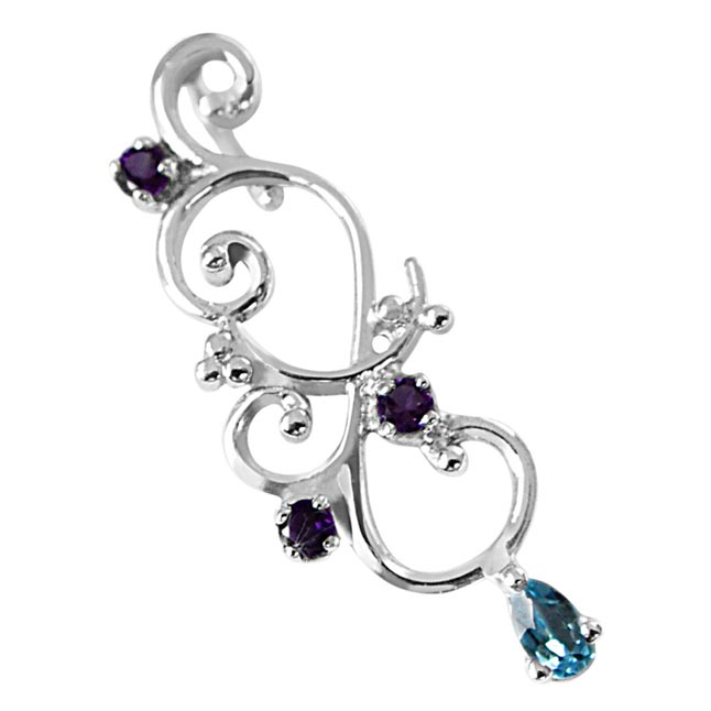 Flower Shaped Pear Blue Toapz & Purple Amethyst in 925 Sterling Silver Pendant with 18 IN Silver Finished Chain SDP494
