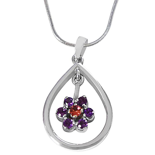 Round Purple Amethyst & Pink Tourmaline  in 925 Sterling Silver Pendant with 18 IN Chain