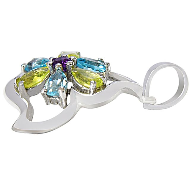 Flower Shaped Green Peridot, Blue Topaz & Purple Amethyst in 925 Sterling Silver Pendant with 18 IN Chain