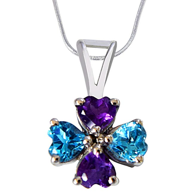Flower Shaped Heart Blue Topaz & Purple Amethyst 925 Sterling Silver Pendant with Silver Finished 18 IN Chain