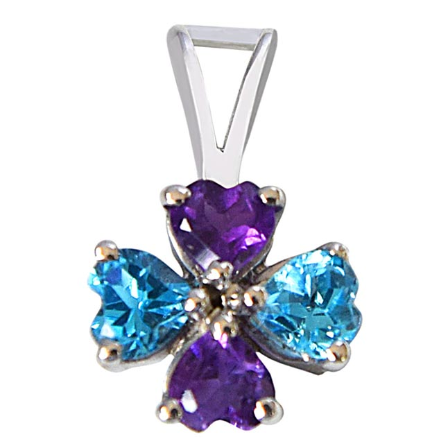 Flower Shaped Heart Blue Topaz & Purple Amethyst 925 Sterling Silver Pendant with 18 IN Chain
