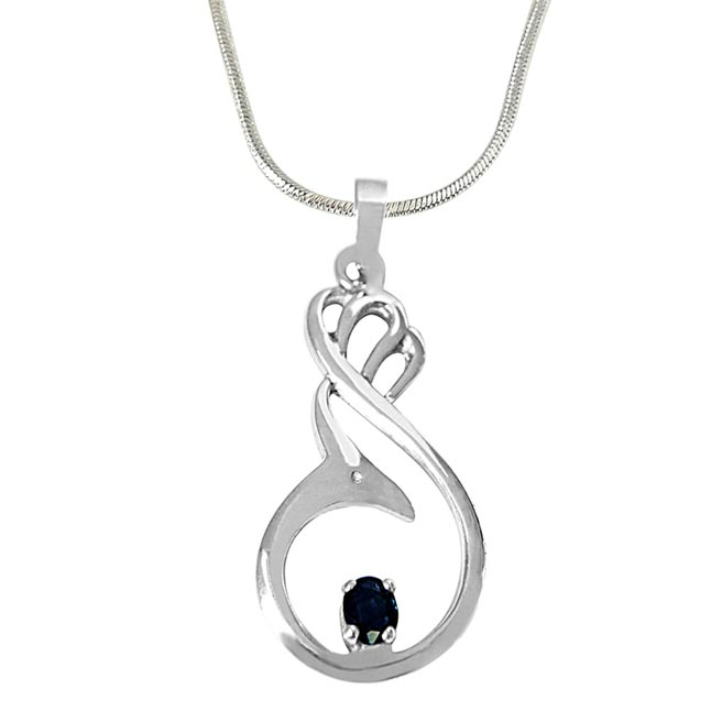 Solitaire Blue Oval Sapphire in 925 Sterling Silver Pendant with 18 IN Chain