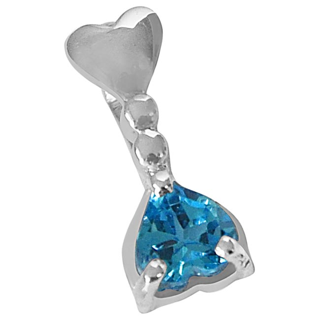 Heart Shaped Blue Topaz in 925 Sterling Silver Pedant with 18 IN Chain