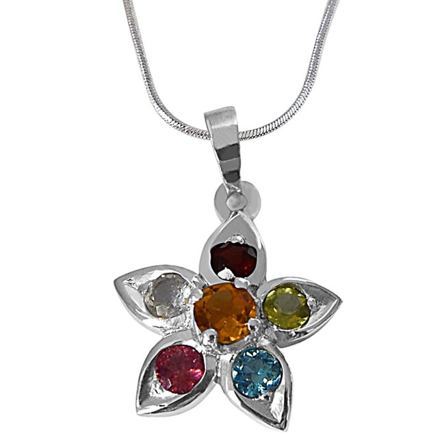Beautiful Star Shaped Precious Gemstones set in 925 Sterling Silver Pendant with 18 IN Silver Finished Chain SDP501