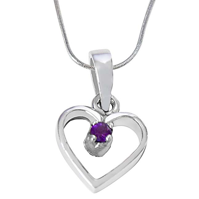 Heart Shaped Purple Round Amethyst in 925 Sterling Silver Pendant with 18 IN Silver Finished Chain SDP502