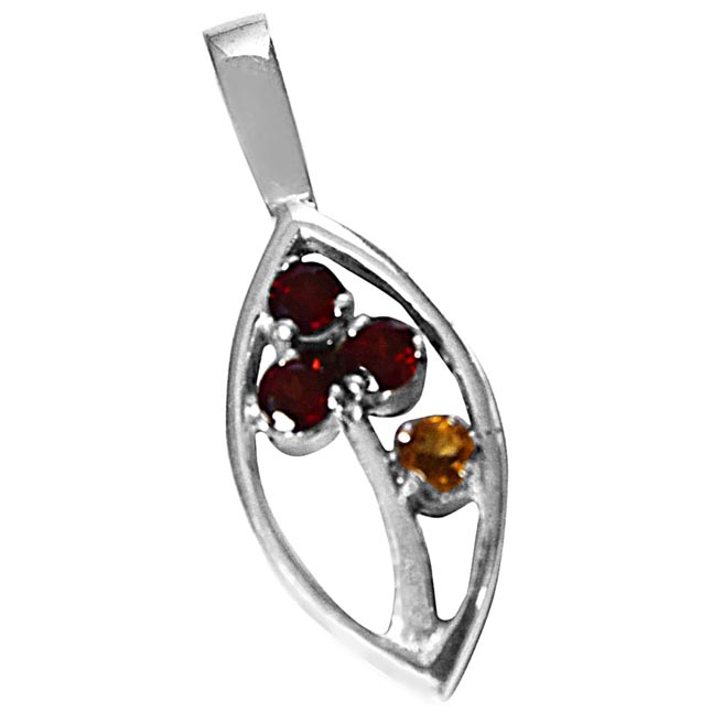 Red Round Garnet & Yellow Tourmaline in 925 Sterling Silver Marquise  Pendant with 18 IN Chain