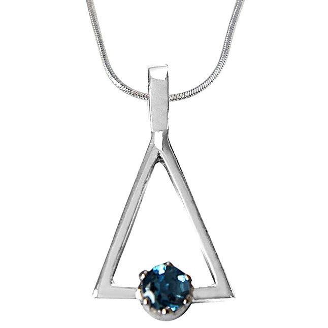 Round Blue Topaz in 925 Sterling Silver Triangle Pendant with 18 IN Chain