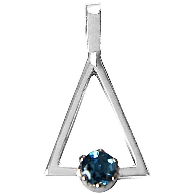 Round Blue Topaz in 925 Sterling Silver Triangle Pendant set for girls with 18 IN Silver Finished Chain SDP505