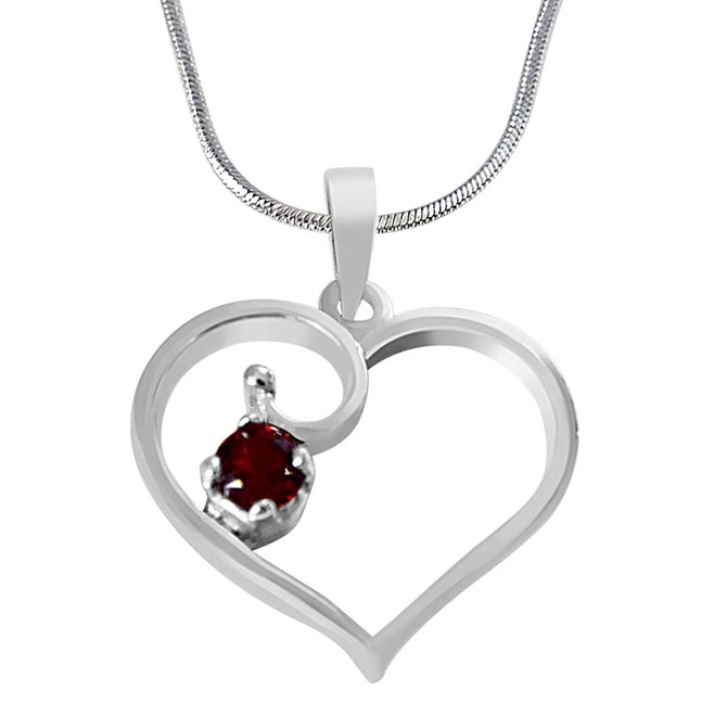 Heart Shaped Red Round Garnet in 925 Sterling Silver Pendant Set for girls with 18 IN Silver Finished Chain SDP506