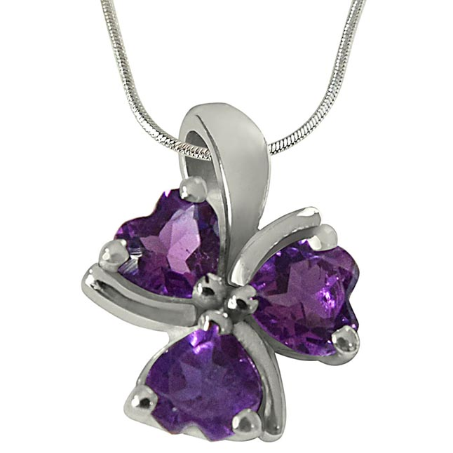 Purple Heart Amethyst in 925 Sterling Silver Heart Pendant with 18 IN Chain