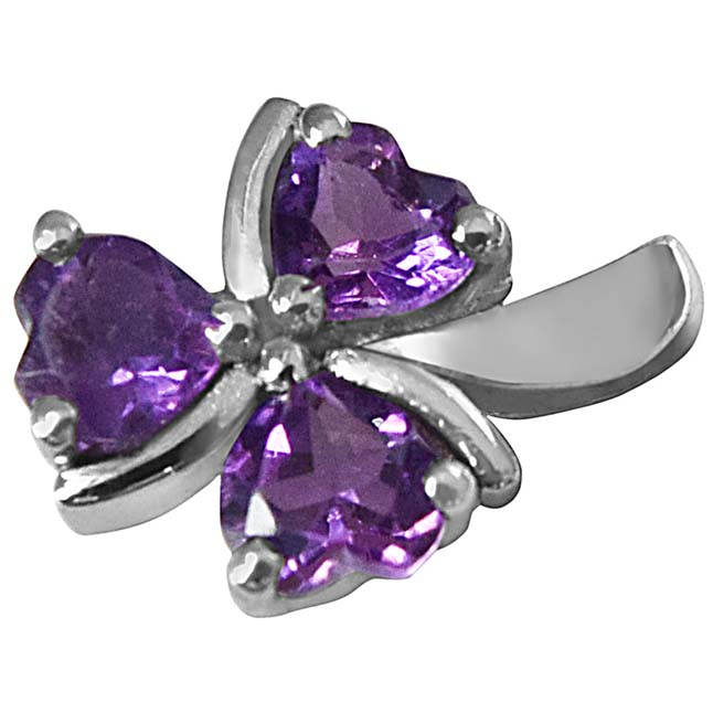 Purple Heart Amethyst in 925 Sterling Silver Heart Pendant set for girlswith 18 IN Silver Finished Chain SDP507