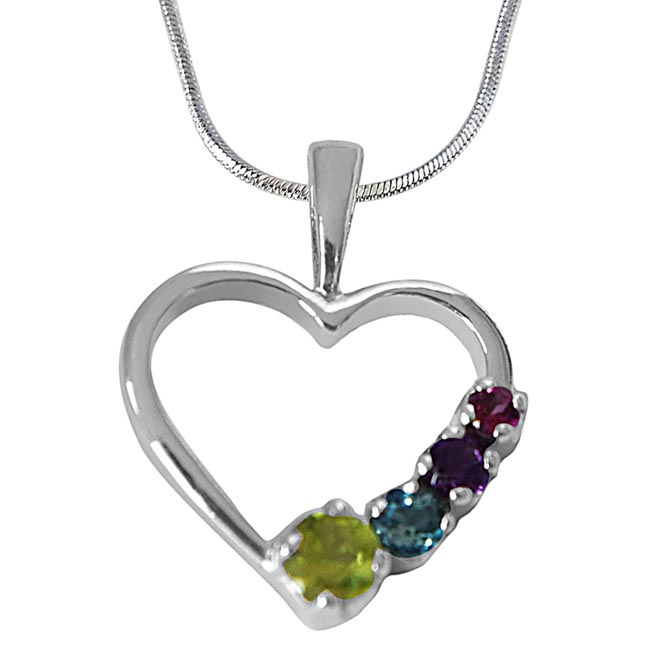 Peridot, Topaz, Amethyst & Rhodolite in Heart Shaped 925 Sterling Silver Pendant with 18 IN Chain
