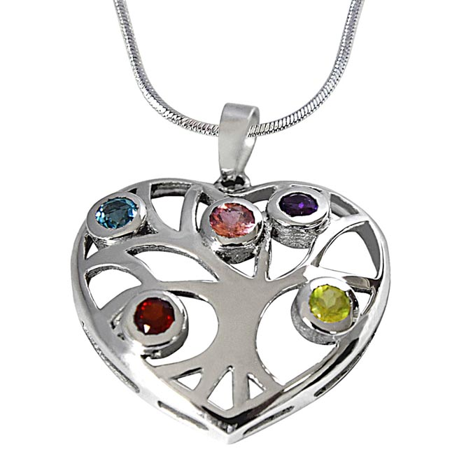 Precious Gemstones in 925 Sterling Silver Heart Pendant with 18 IN Chain