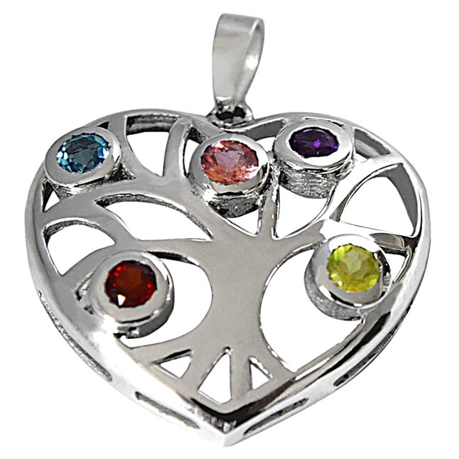 Precious Gemstones in 925 Sterling Silver Heart Pendant for girls with 18 IN Silver Finished Chain SDP509
