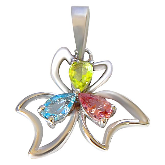 Pear Shaped Blue Topaz, Green Peridot & Pink Tourmaline in 925 Sterling Silver Flower Pendant for girls with 18 IN Silver Finished Chain SDP510