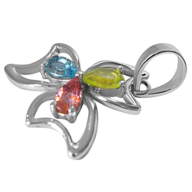 Pear Shaped Blue Topaz, Green Peridot & Pink Tourmaline in 925 Sterling Silver Flower Pendant with 18 IN Chain