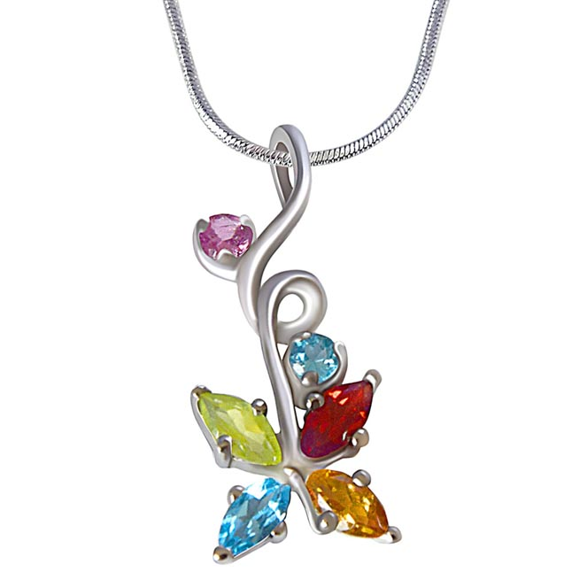 Beautiful Multi Colored Precious Gemstones in 925 Sterling Silver Pendant 18 IN Chain