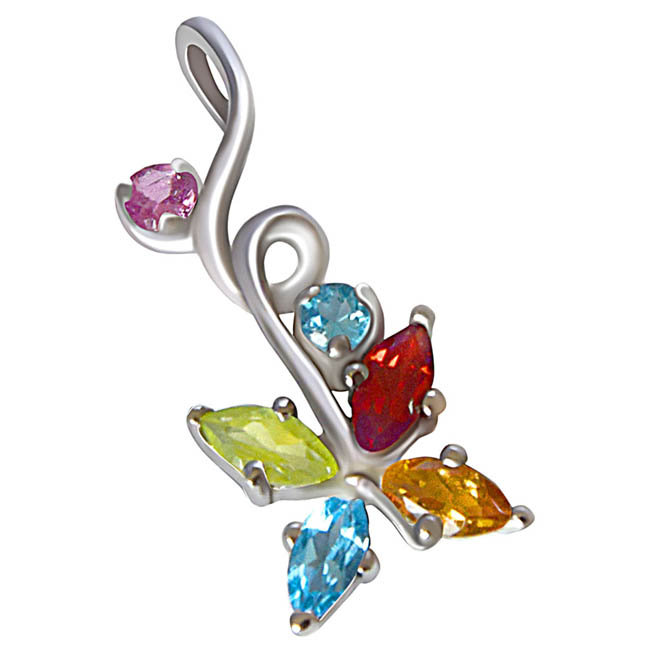 Beautiful Multi Colored Precious Gemstones in 925 Sterling Silver Pendant for girls with 18 IN Silver Finished Chain SDP511