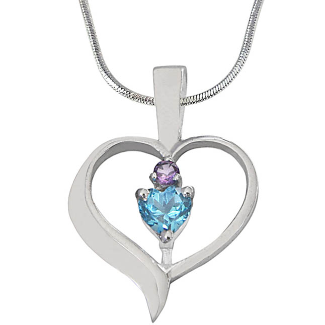 Heart Shaped Blue Topaz & Purple Amethyst in 925 Sterling Silver Pendant with 18 IN Chain